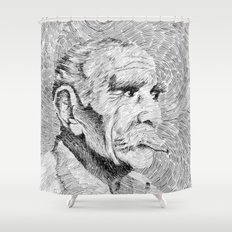 Hombre - black ink Shower Curtain