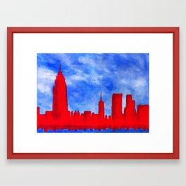 Bright Lights, Red City Framed Art Print