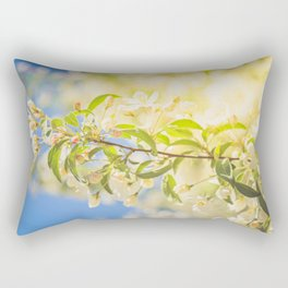 Macro shot of bird cherry blossom over blue sky Rectangular Pillow