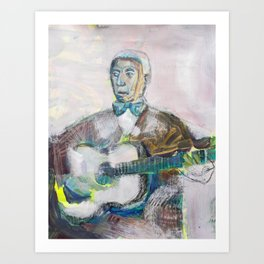 Old Blues Guitarist Art Print