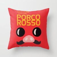 hayao miyazaki Throw Pillows featuring Porco Rosso - Miyazaki - Alternative Cartoon Poster by Stefanoreves