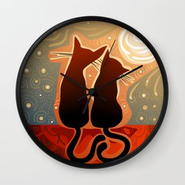 couple of cats in love on a house roof Wall Clock