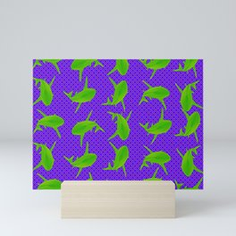 Neon Green Sharks Mini Art Print
