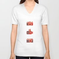 cameras V-neck T-shirts featuring Cameras by madelyn bilsborough