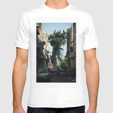 Mech behind a back alley Mens Fitted Tee MEDIUM White