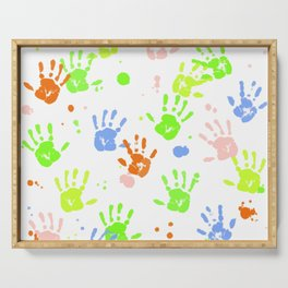 Hand Print Pattern Serving Tray