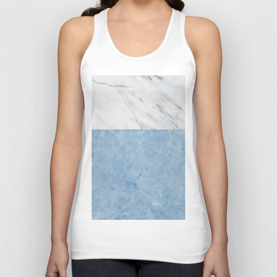 Porcelain blue and white marble Unisex Tank Top
