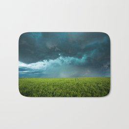 April Showers - Colorful Stormy Sky Over Lush Field in Kansas Bath Mat