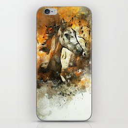 Watercolor Galloping Horses On Raw Canvas   Splatter Painting iPhone Skin