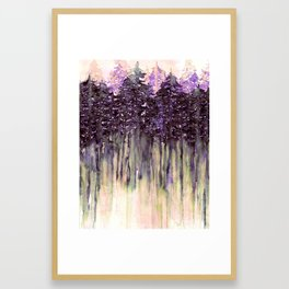 NORTHWEST VIBES Colorful Watercolor Painting Forest Trees Violet Green Modern Nature Art West Coast  Framed Art Print