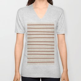 Inspired By Cavern Clay Sw 7701 Hand Drawn Thin Horizontal Lines on Creamy SW7012 Unisex V-Neck
