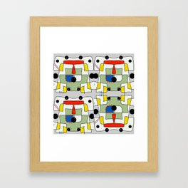 Black dots color block abstract Framed Art Print
