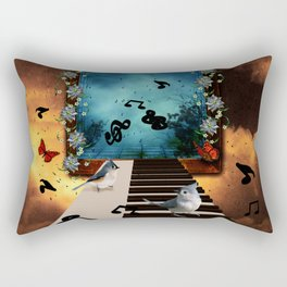 Music, piano with birds and butterflies Rectangular Pillow