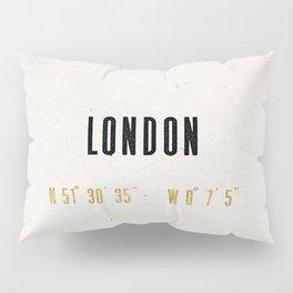 Vintage London Gold Foil Location Coordinates with map Pillow Sham