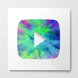 Colorful YT Play Button Metal Print