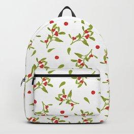 Christmas Mistletoe Pattern in White Backpack