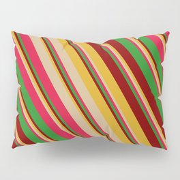 Colorful Goldenrod, Tan, Crimson, Forest Green & Maroon Colored Striped/Lined Pattern Pillow Sham