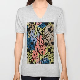 Abstract green coral pink black brushstrokes floral Unisex V-Neck
