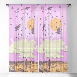 SUMMONING CROWS Sheer Curtain