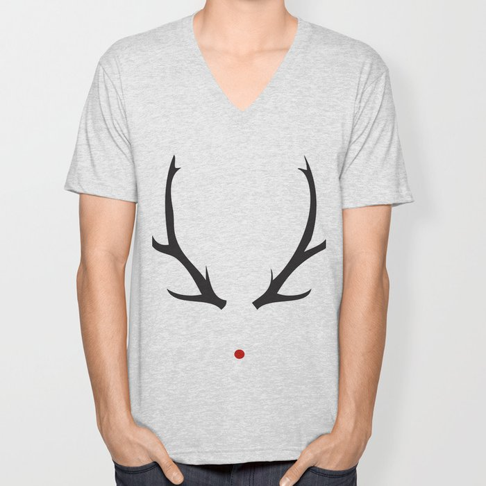 Minimalist Rudolph with red nose Unisex V-Neck