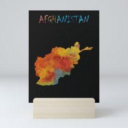 Watercolor Map of Afganistan Mini Art Print