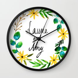 Little Women Amy and Laurie Flower Wreath Wall Clock