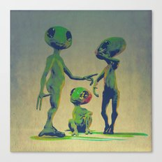 Little Green Family Portrait Canvas Print