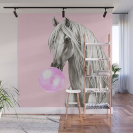 White Horse with Bubble Gum in Pink Wall Mural