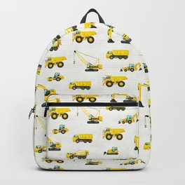 White and Yellow Construction Vehicle Pattern Backpack