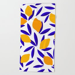Blue and yellow Lemon Summery Pattern Beach Towel