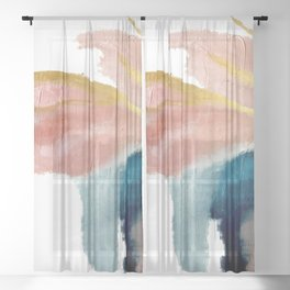 Exhale: a pretty, minimal, acrylic piece in pinks, blues, and gold Sheer Curtain