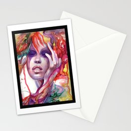 Migraine Watercolor Girl Stationery Cards