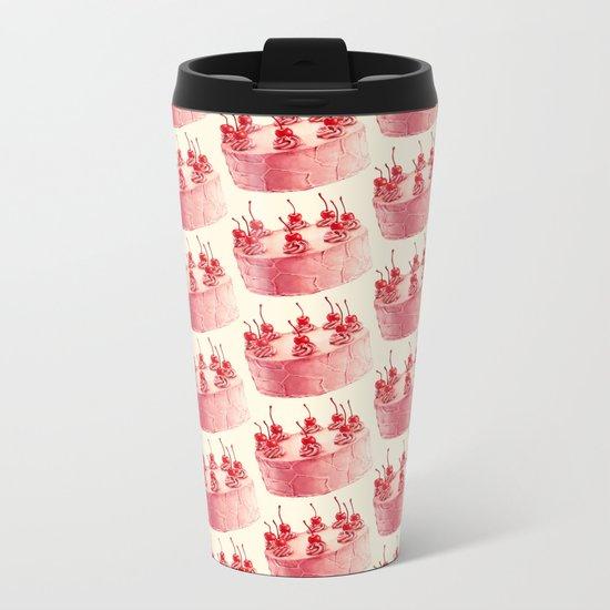 Cherry Cake Pattern Metal Travel Mug