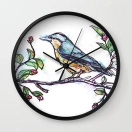 Bird on a Branch (drawn with one, continuous line) Wall Clock