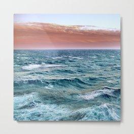 Brave ocean. Square vintage. Windy high sea Metal Print