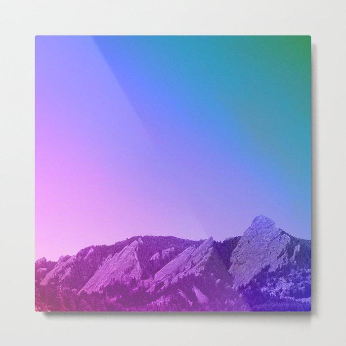 Boulder Colorado Flatirons Decor \\ Chautauqua Park Purple Pink Blue Green Nature Bohemian Style Art Metal Print