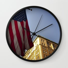 Cornice with flag Wall Clock
