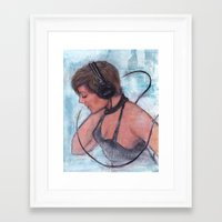headphones Framed Art Prints featuring Headphones by Colleen Moran