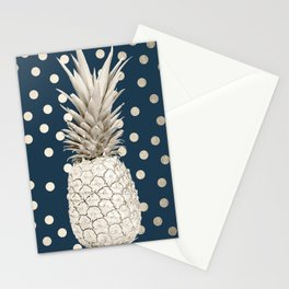 Gold Pineapple Polka Dots 2 Stationery Cards