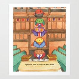 Owl Parliament Art Print