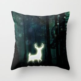 Dark Green Forest with Glowing Reindeer and Shimmering Lights Throw Pillow