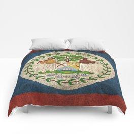 Old and Worn Distressed Vintage Flag of Belize Comforters