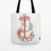under the sea Tote Bags featuring Under The Sea by Huebucket