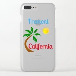 Fremont California Palm Tree and Sun Clear iPhone Case
