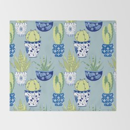Chinoiserie Cactus Garden Throw Blanket