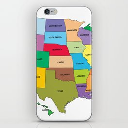 Map of the US states iPhone Skin
