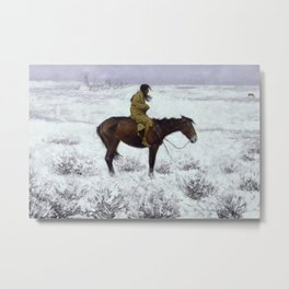 Frederic Remington - The Herd Boy, 1910 Metal Print