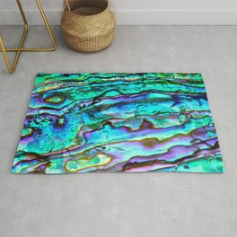 Glowing Aqua Abalone Shell Mother of Pearl Rug