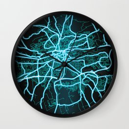 Cork, Ireland, Blue, White, Neon, Glow, City, Map Wall Clock