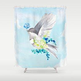 Little Bird Carries Blue Flower Shower Curtain